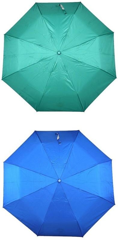 Bizarro.in 3 Fold Set of 2 Plain Office Men::Women_77 Umbrella(Blue, Sea Green)