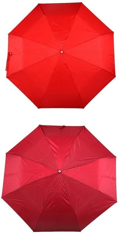 Bizarro.in 3 Fold Set of 2 Plain Office Men::Women_175 Umbrella(Maroon, Red)