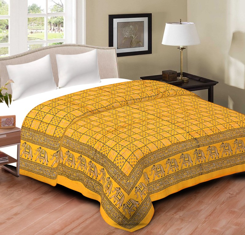 Spangle Printed Double Quilts & Comforters Yellow(1 Double Bed Quilt)