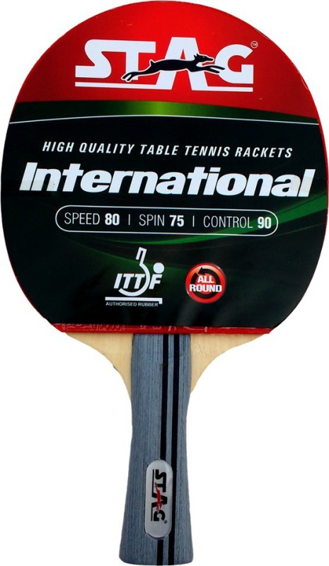 Stag International Red, Black Table Tennis Racquet(Weight - 190 g)