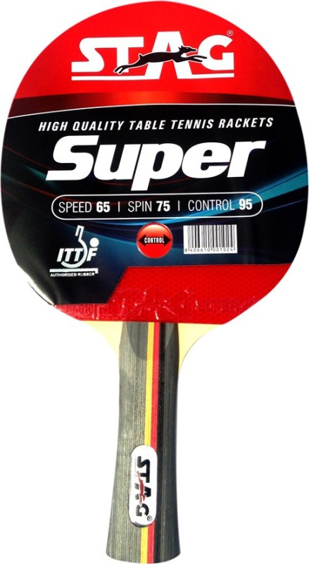 Stag Super Red, Black Table Tennis Racquet(178 g)