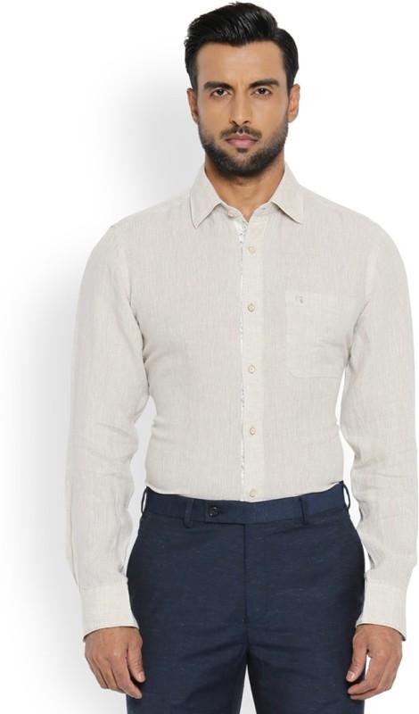 Raymond Men Solid Formal Beige Shirt