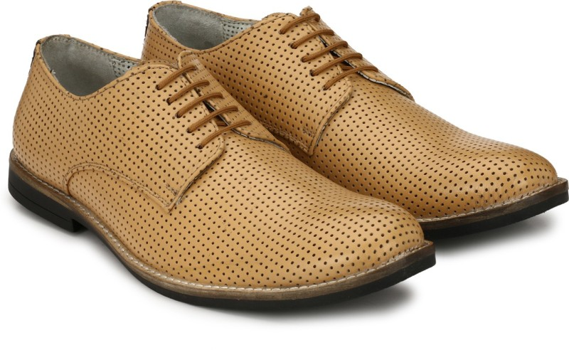 Hirels Perforated Derby Shoes Lace Up For Men(Tan)