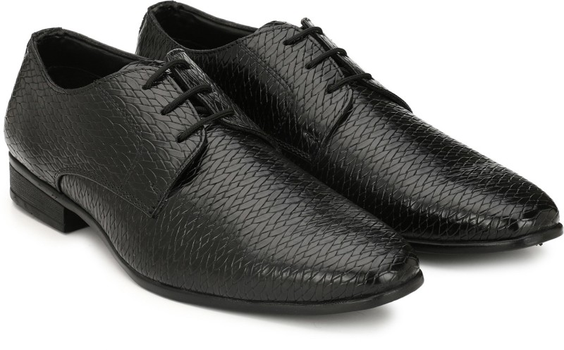 Hirels Weaving Derby Shoes Lace Up For Men(Black)
