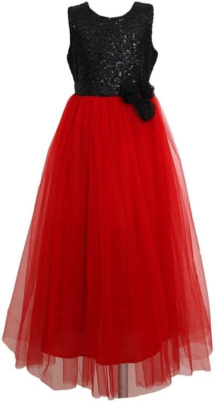 Wommaniya Impex Girls Maxi/Full Length Party Dress(Red, Sleeveless)