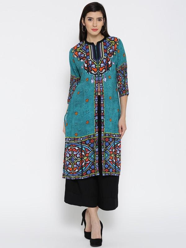 Shree Women Printed Straight Kurta(Multicolor)