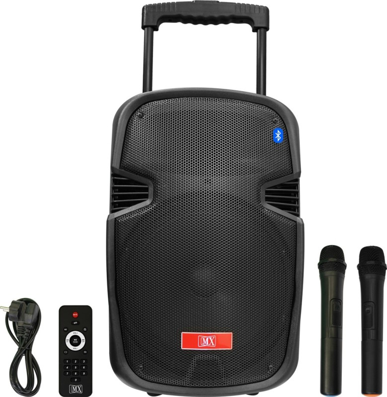 MX 10 Inches Portable Multimedia Trolley Speaker With Built-in Amplifier Battery Bluetooth Usb Radio Fm Sd Card Aux Input & 2 Wireless Microphone Remote 3710 Indoor, Outdoor PA System(75 W)