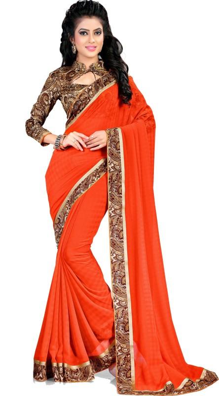 Indianbeauty Self Design, Solid, Printed Bollywood Chiffon Saree(Orange)