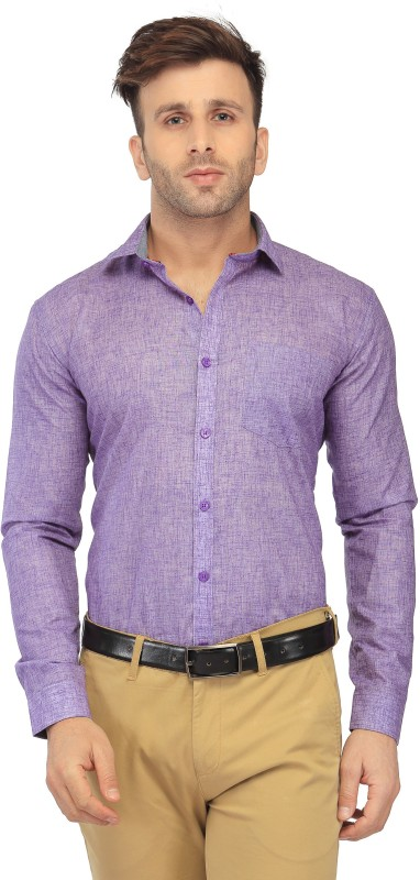 FabTag - Being Fab Men Solid Formal Purple Shirt