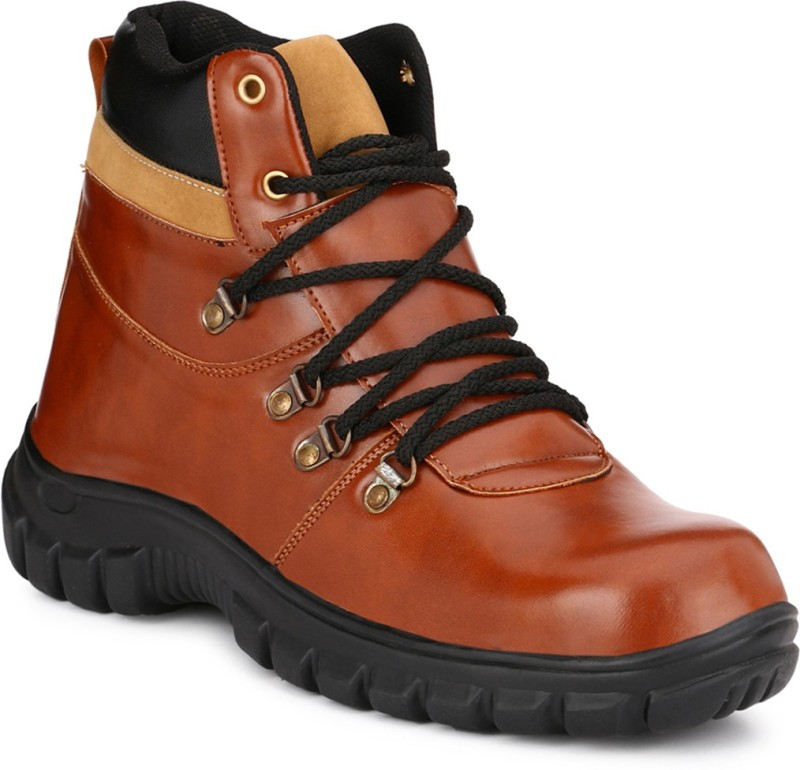 Eego Italy Steel Toe Safety Shoes Boots For Men(Tan, Brown)