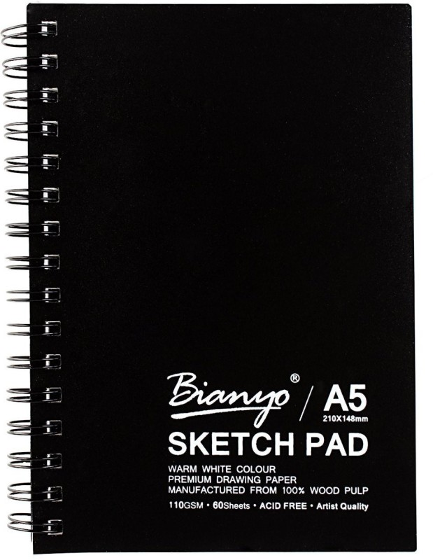 Bianyo Artist Quality - Acid Free. 110 GSM. A5 Size. 60 Sheets Sketch Pad(Black, 60 Sheets)