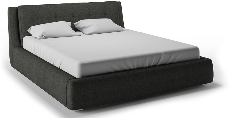 Urban Ladder Stanhope Hydraulic Upholstered Engineered Wood King Bed With Storage(Finish Color - Charcoal Grey)