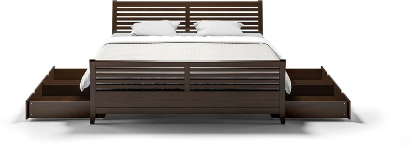 Urban Ladder Vermont Solid Wood King Bed With Storage(Finish Color - Dark Walnut)