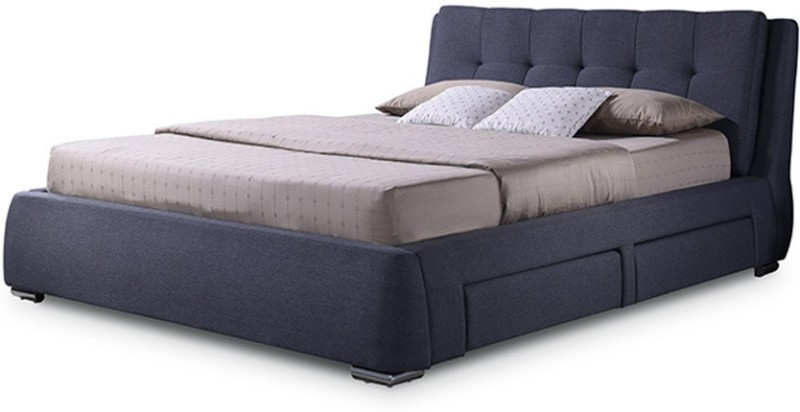 Urban Ladder Stanhope Upholstered Engineered Wood Queen Bed With Storage(Finish Color - Charcoal Grey)