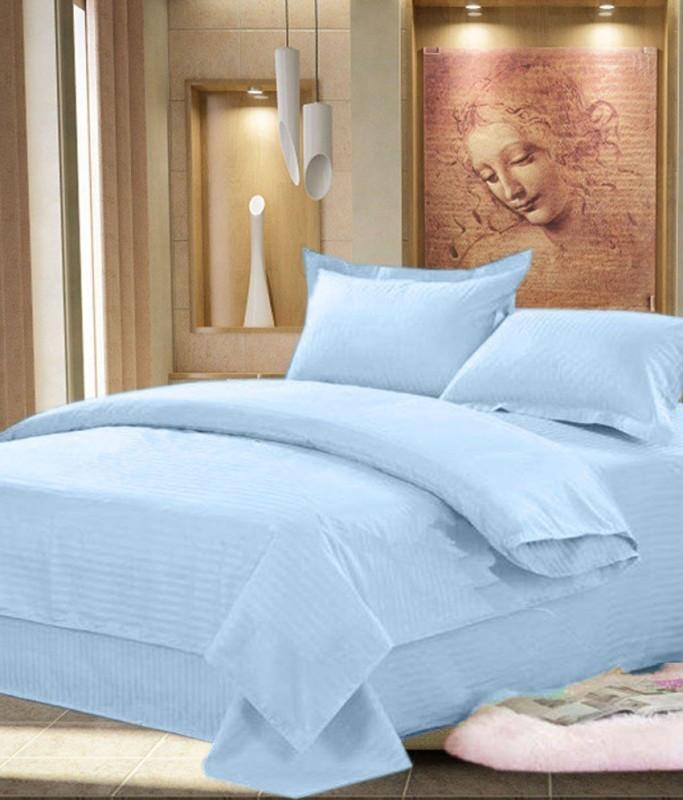 Little Joy Cotton Double Plain Bedsheet(Pack of 1, Blue)