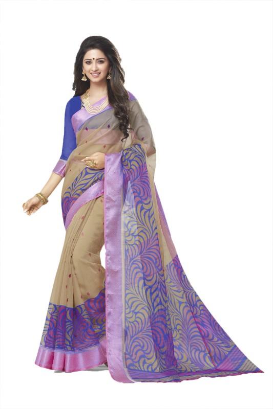 Gugaliya Printed Fashion Organza Saree(Multicolor)