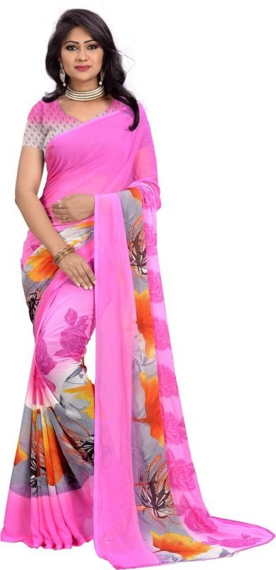 Divastri Floral Print Fashion Georgette Saree(Pink)