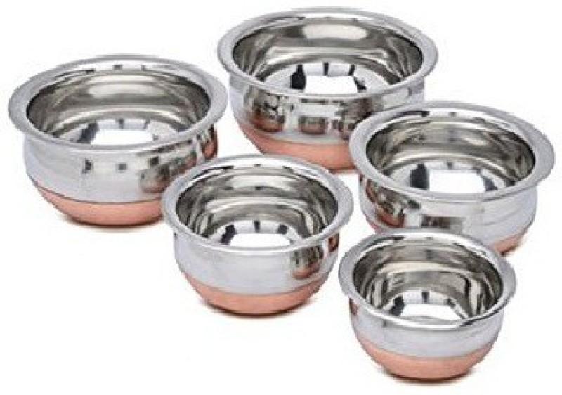 Dynore Set of 5 Copper Bottom Serving Bowls Bowl Tray Serving Set(Pack...