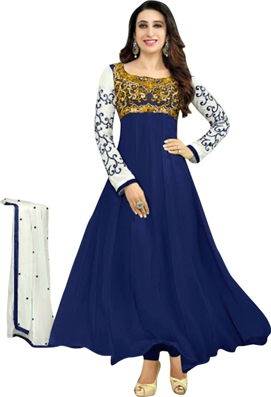 Trendzone Georgette Embroidered Semi-stitched Salwar Suit Dupatta Material