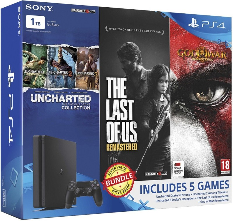 Sony PlayStation 4 (PS4) Slim 1 TB with Uncharted Collection, The Last of Us Remastered and God of War Remastered(Jet Black)