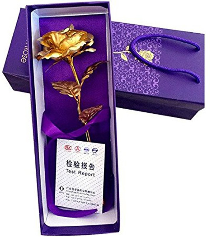Kids Mandi 24K Golden Rose 10 Inches With Gift Box Gold Rose...
