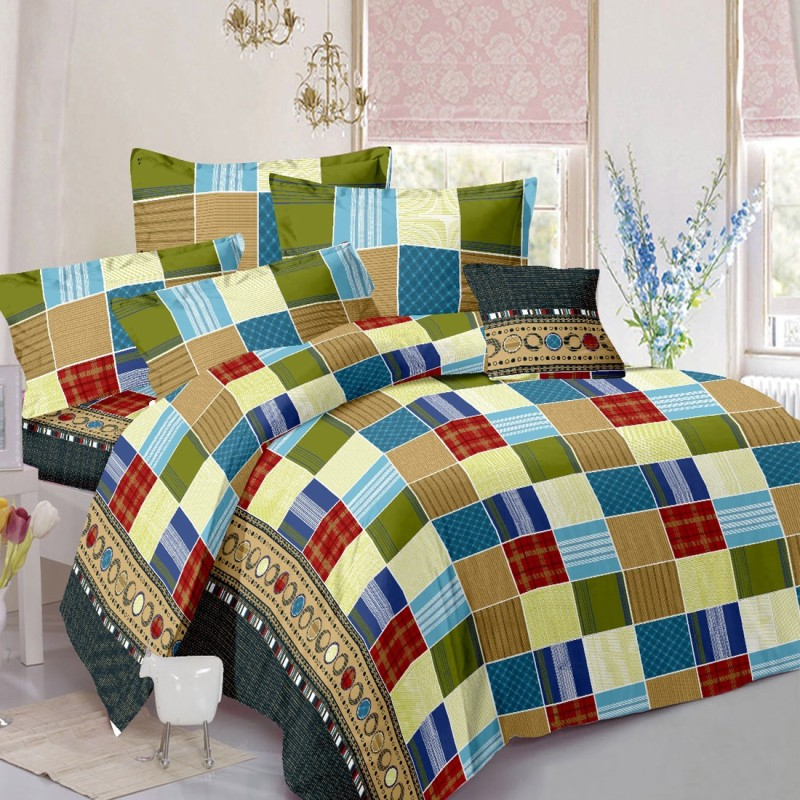 India Furnish Cotton Double Checkered Bedsheet(Pack of 1, Multicolor)