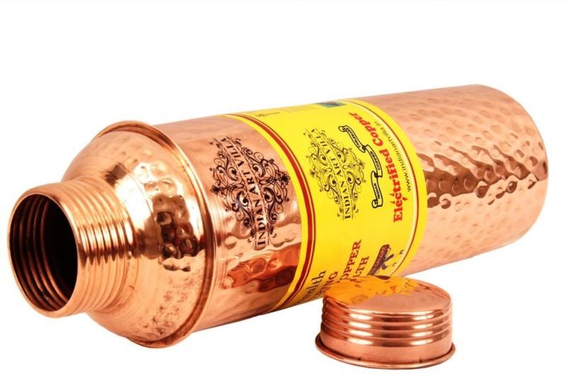 IndianArtVilla Copper Hammered Bisleri Design Water Bottle, Benefit Yoga Ayurveda Healing 800 ml Bottle, Flask(Pack of 1, Brown)