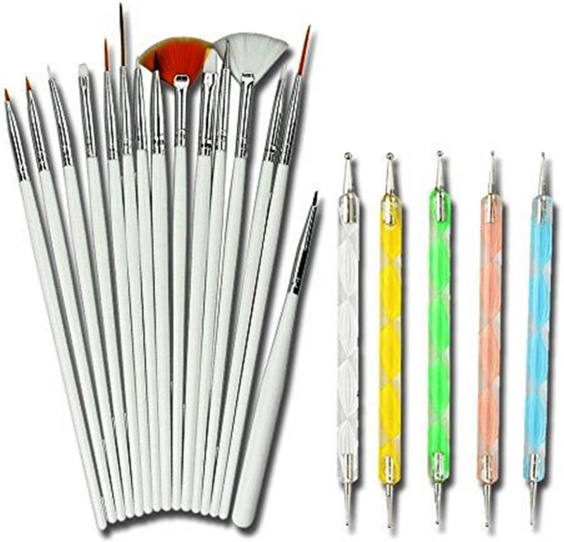 Kelley Nail Art Tool Brushes 15 Pieces & Dotting Pen 5 Pieces for Women