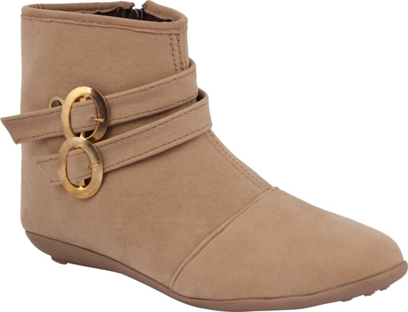 ABJ Fashion Double Buckle Womens Ankle Lenght Beige Boots For Women(Beige)