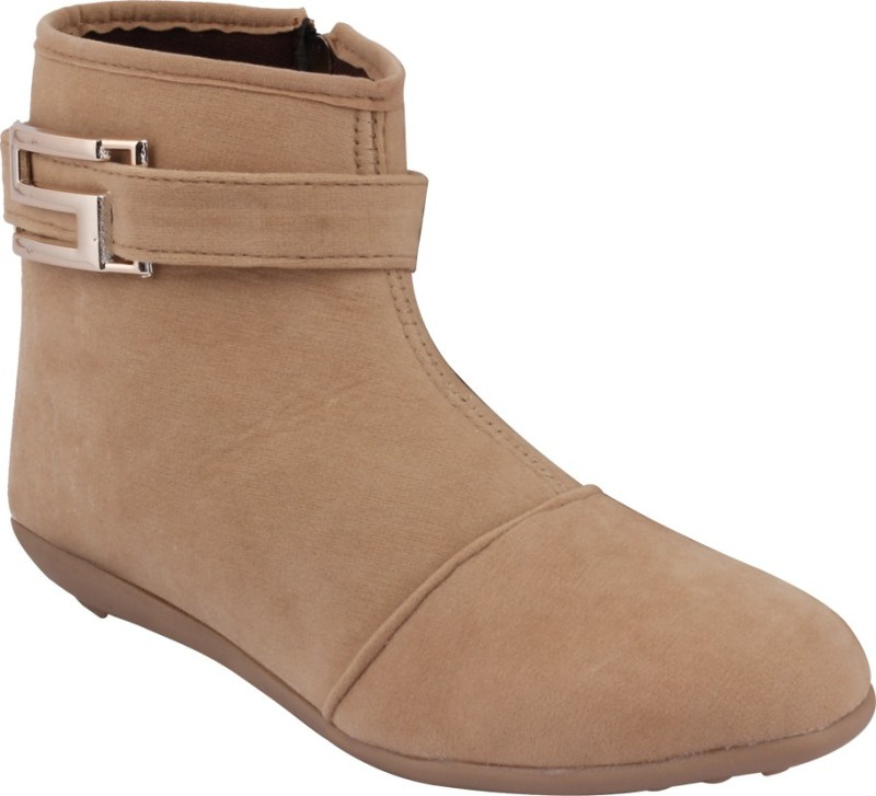 ABJ Fashion S Buckle Womens Ankle Lenght Beige Boots For Women(Beige)