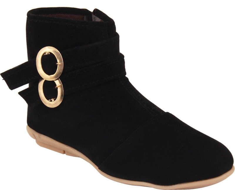 ABJ Fashion Double Buckle Womens Ankle Lenght Black Boots(Black)