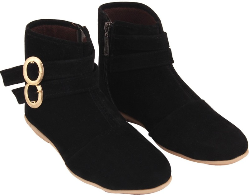 ABJ Fashion Double Buckle Womens Stylish Black Boots For Women(Black)