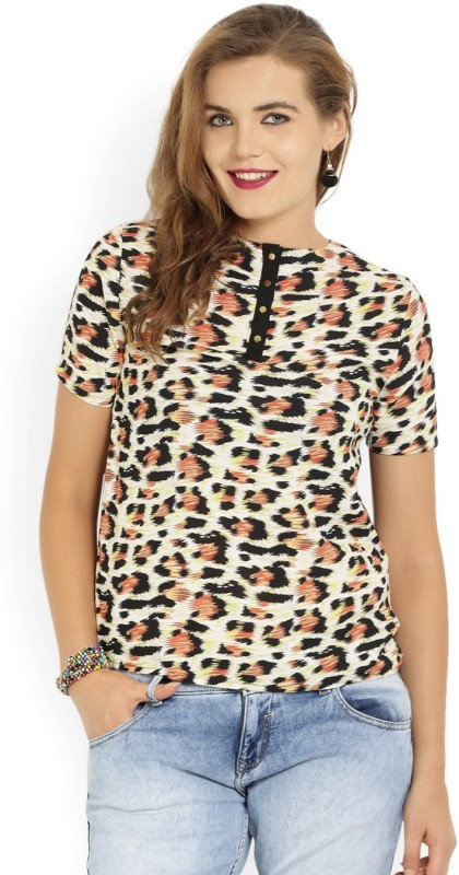 Van Heusen Casual Half Sleeve Printed Women Black, Orange Top