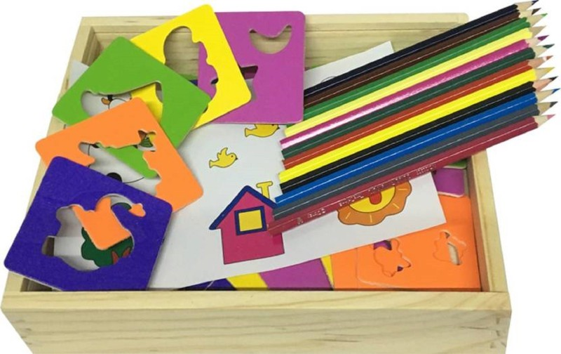 Montez Wooden Drawing Stencils Art Set for Kids with 30 Shapes Awesome Kit & Travel Activity for Children with Wooden Box