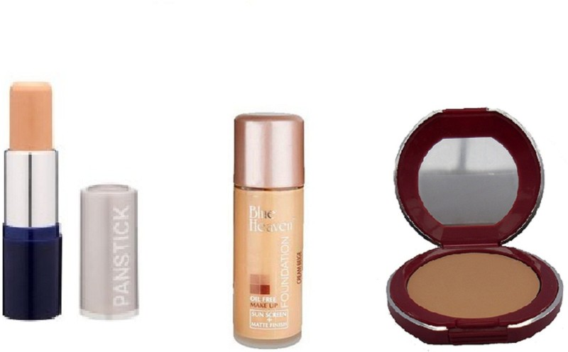 Blue Heaven pan stick (beige) concealer,oil free foundation(natural) with follow me compact(Set of 3)