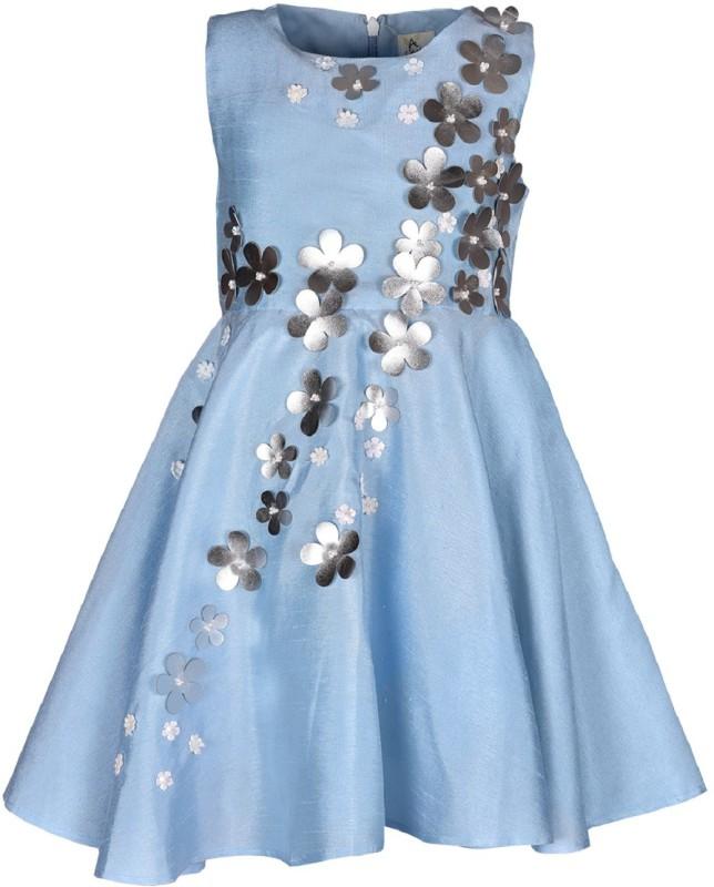 A Little Fable Girls Midi/Knee Length Party Dress(Blue, Sleeveless)