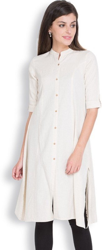 ALC Creations Women Solid A-line Kurta(White)
