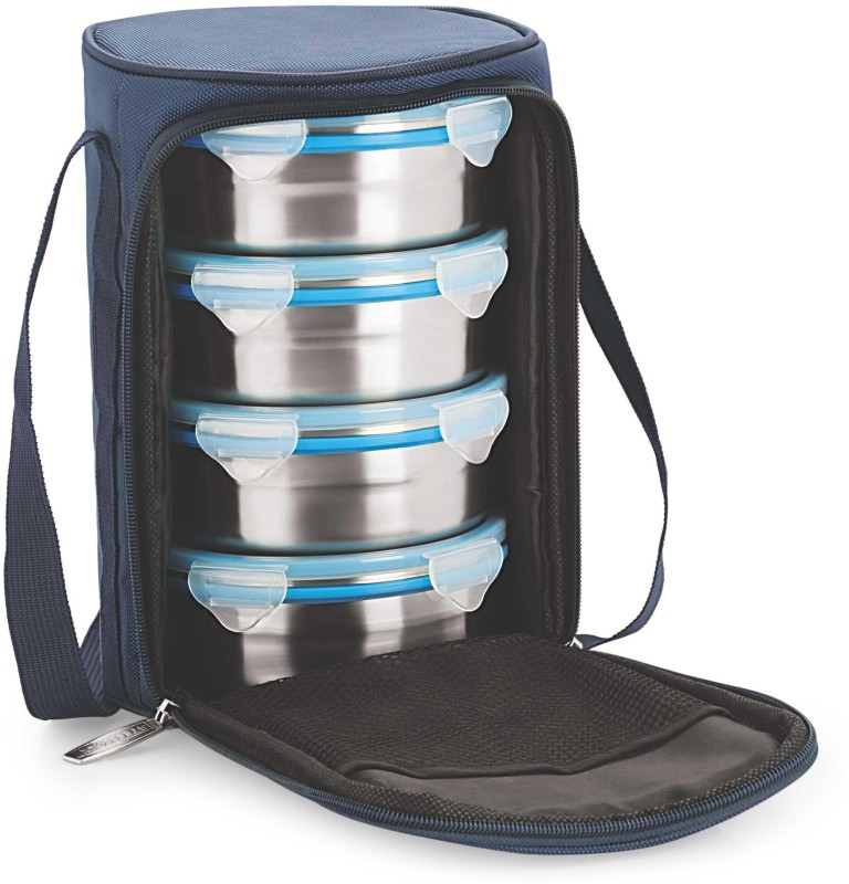 Steel Lock Airtight & Leak Proof Stainless Steel With Insulated Bag 4 Containers Lunch Box(700 ml)
