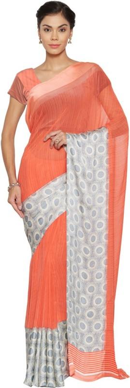Saara Printed Daily Wear Georgette, Satin Saree(Multicolor)
