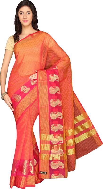 Pavechas Striped Banarasi Kota Cotton Saree(Pink)