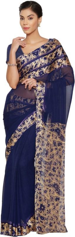 Saara Printed Daily Wear Georgette, Satin Saree(Blue, Beige)
