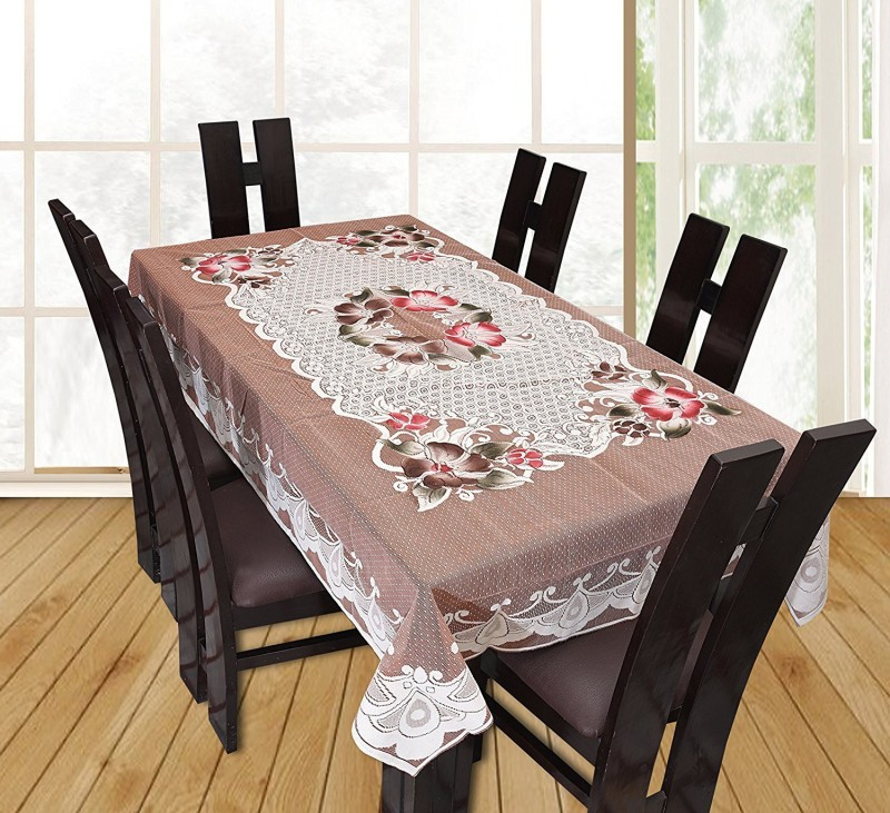YELLOW WEAVES Floral 6 Seater Table Cover(Beige, Polyester)