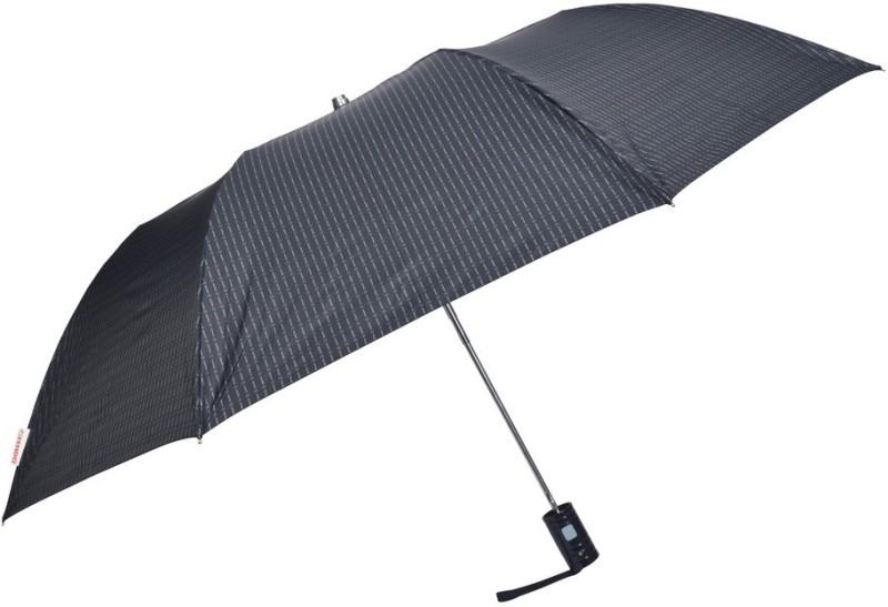 Fendo 2 Fold Auto Open black beautiful Lining Umbrella(Black)