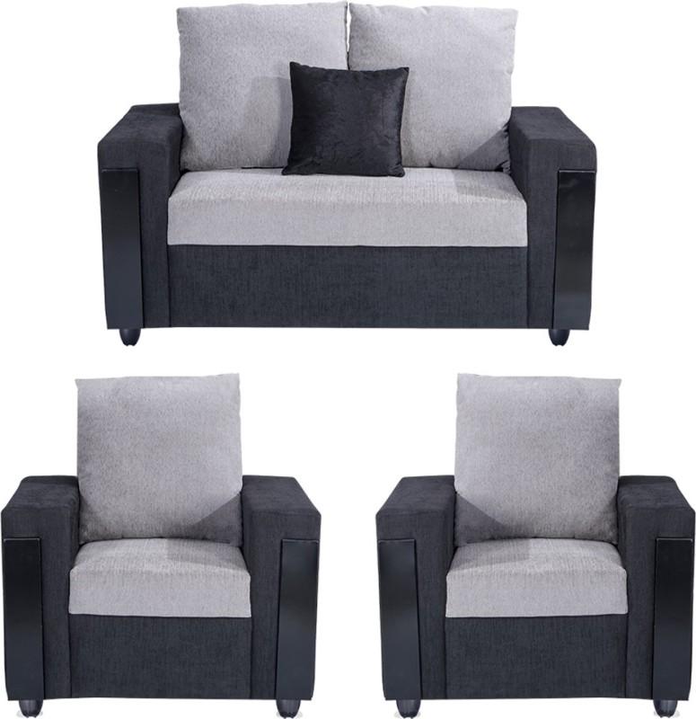 Bharat Lifestyle Ocea Fabric 2 + 1 + 1 Black Grey Sofa Set