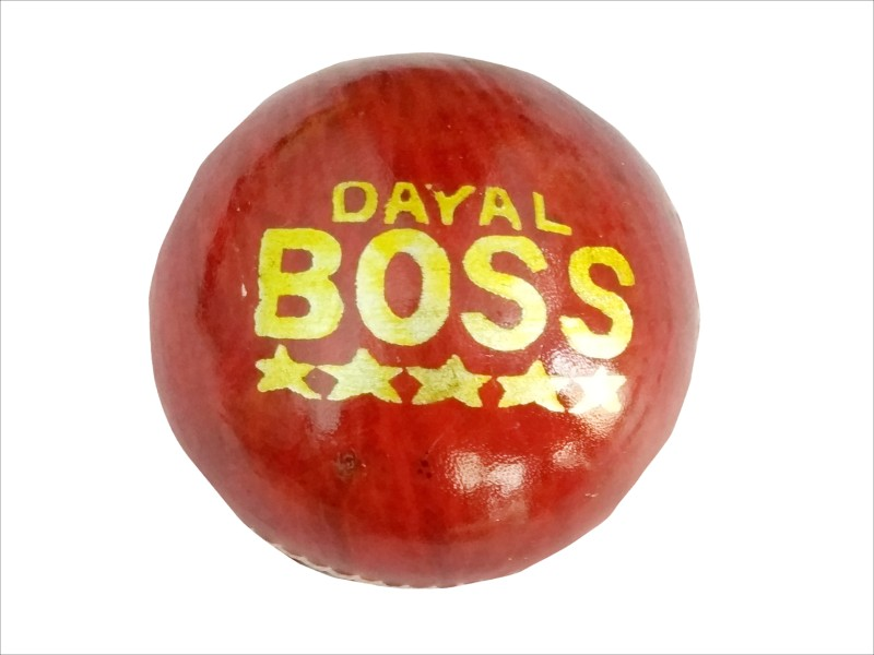 Dayal Boss Red Leather Ball -( pack of 6 ) Cricket Ball - Size: 3.3/4 ounces(Pack of 6, Red, Golden)
