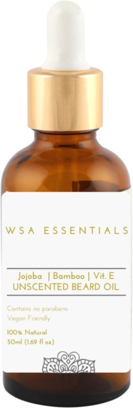 WSA Essentials Unscented Beard Oil and Conditioner - 100% Organic, Vegan, Best for Softening, Growth, Controlling Dandruff Hair Oil(50 ml)