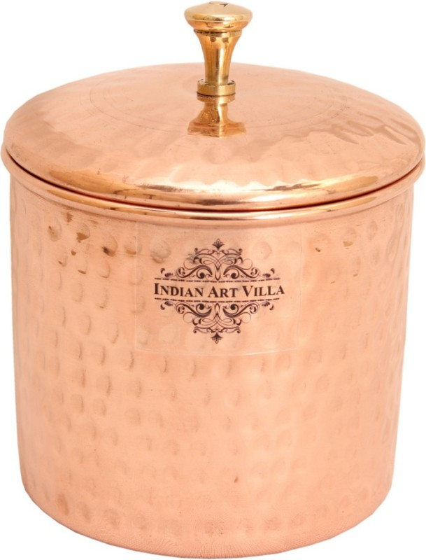 IndianArtVilla Copper Storage Container IAV-CC-2-172 0.5 L Drum(Brown, Pack of 1)