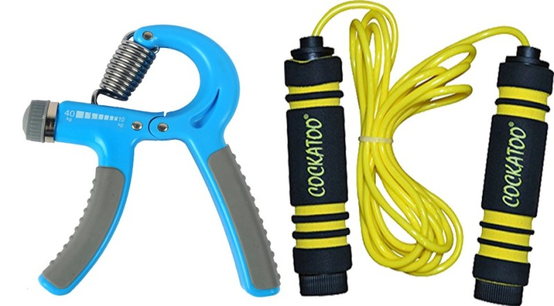 COCKATOO Premium Adjustable gripper and foam skipping rope Gym & Fitness, Badminton, Cycling, Swimming Kit