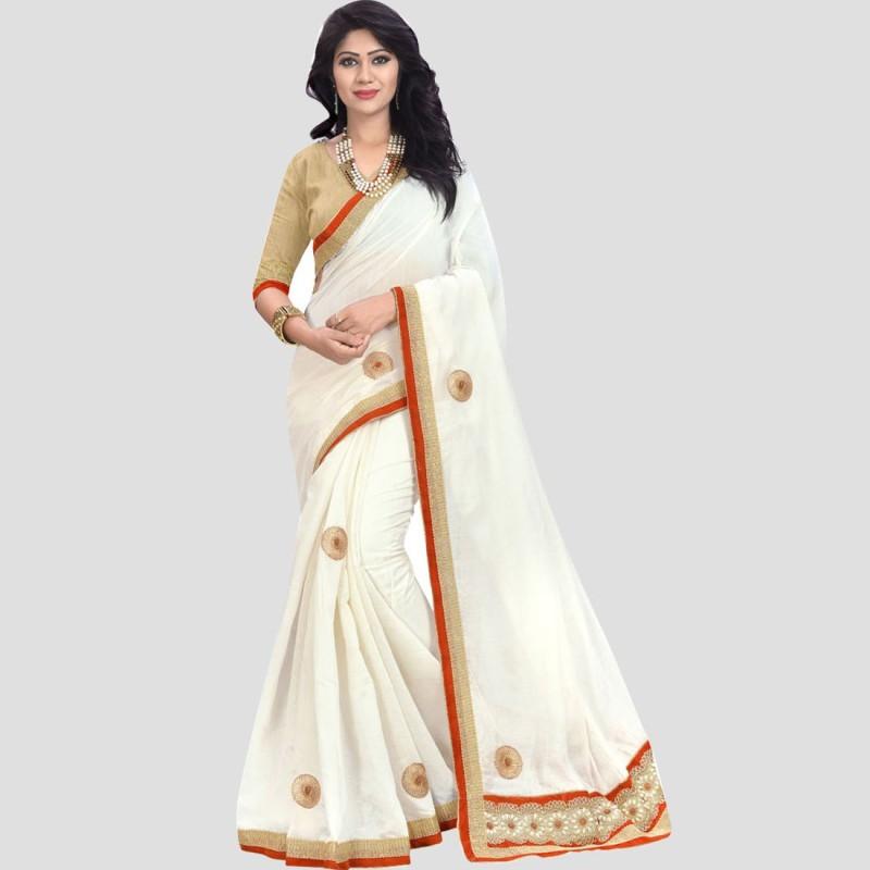 BAPS Embroidered Fashion Cotton Saree(White)