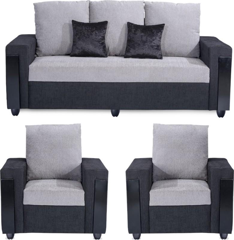 Bharat Lifestyle Ocea Fabric 3 + 1 + 1 Black Grey Sofa Set